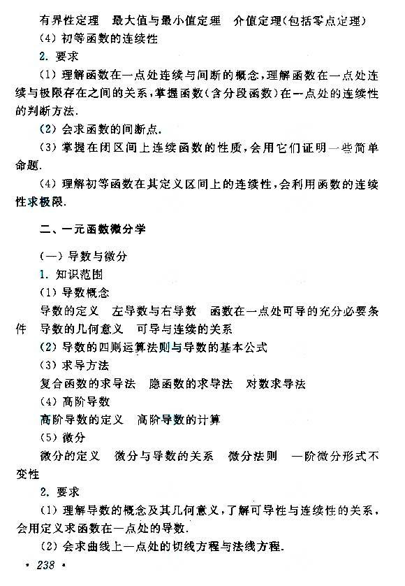 江西成人高考专升本高等数学考试大纲